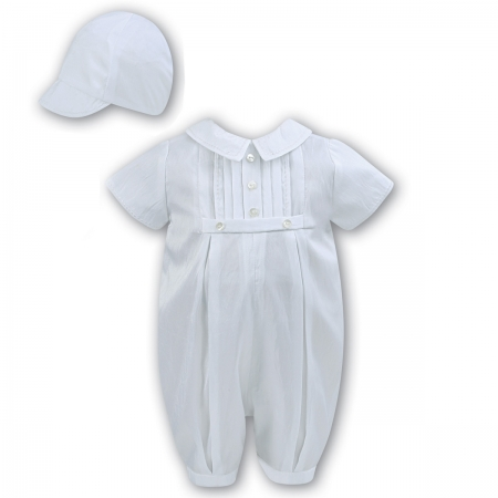 Sarah Louise -a- White Satin Romper & Hat 002228