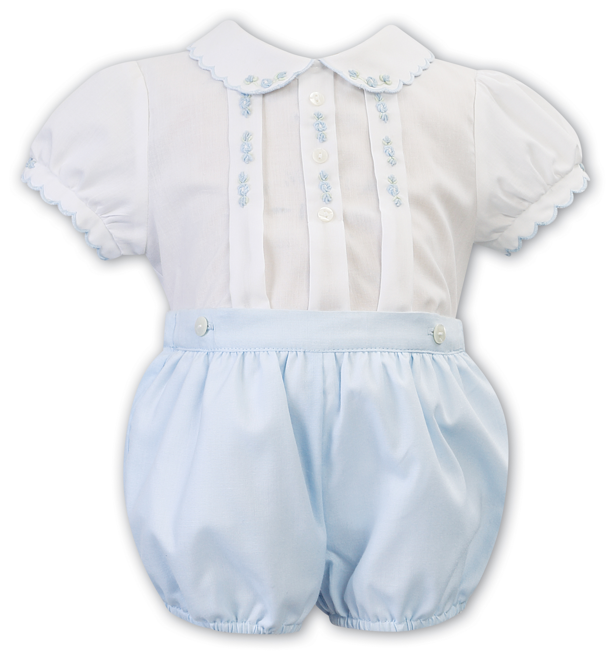 Sarah Louise -a- White/Sky smocked Romper 011802