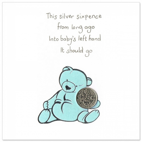Silver sixpence card/Blue