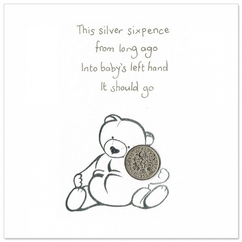 Silver sixpence card/White