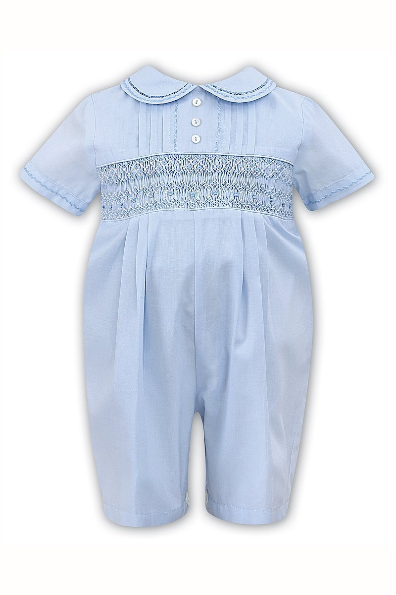 Sarah Louise -a- Sky Smocked romper C6000
