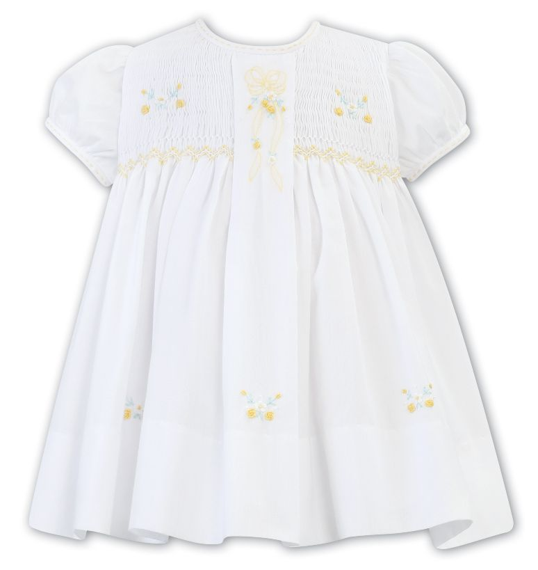 Sarah Louise -a- Lemon/White Smocked  Dress C7001N