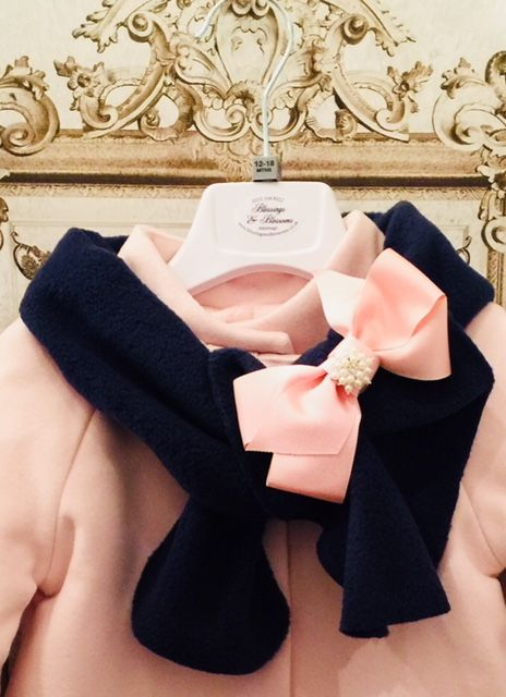BBs Navy,Pink bow Blossom scarf