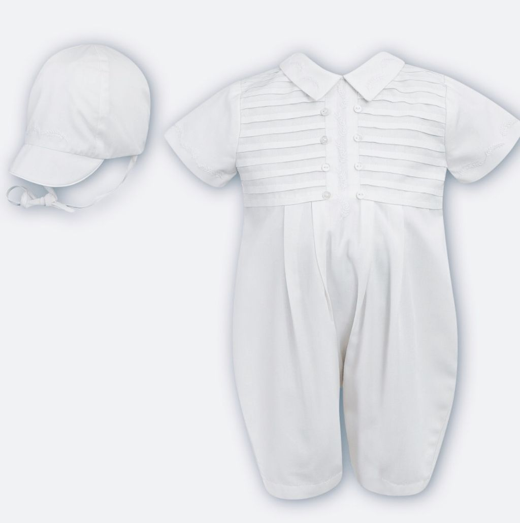 Sarah Louise -a- White b Pintuck Romper and hat 9214