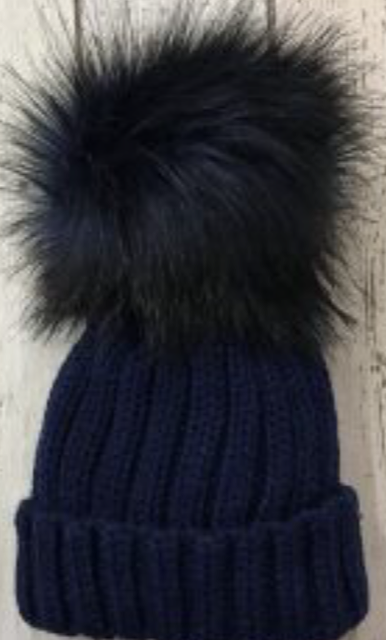 Faux Fur Pom Pom hat Navy.