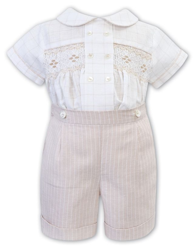 Sarah Louise -a- Beige Smocked 2 Piece 012210