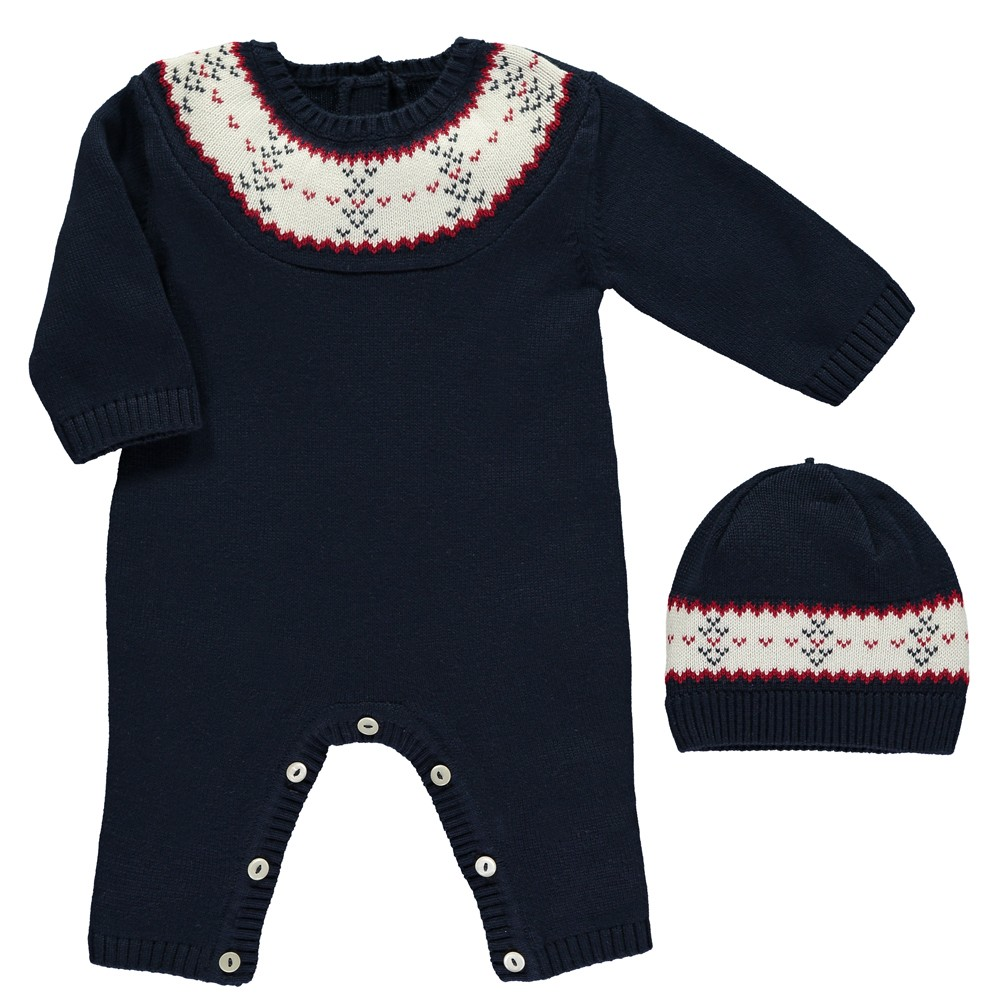 Emile et Rose -e- BG Lennox Navy Knitted Babygrow and hat 1731
