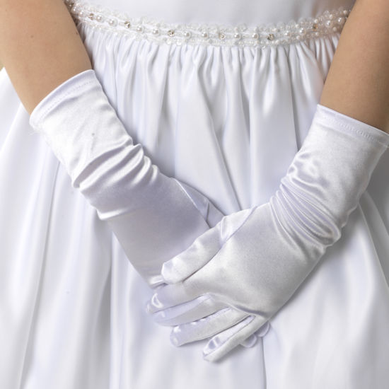 BBs -a- LG86 White Satin Gloves