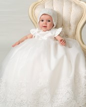 Sarah Louise - Girls Christening robe & Bonnet BB089