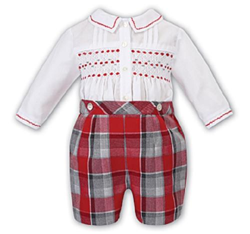 Sarah Louise -a- A Red check/white smocked romper 011730