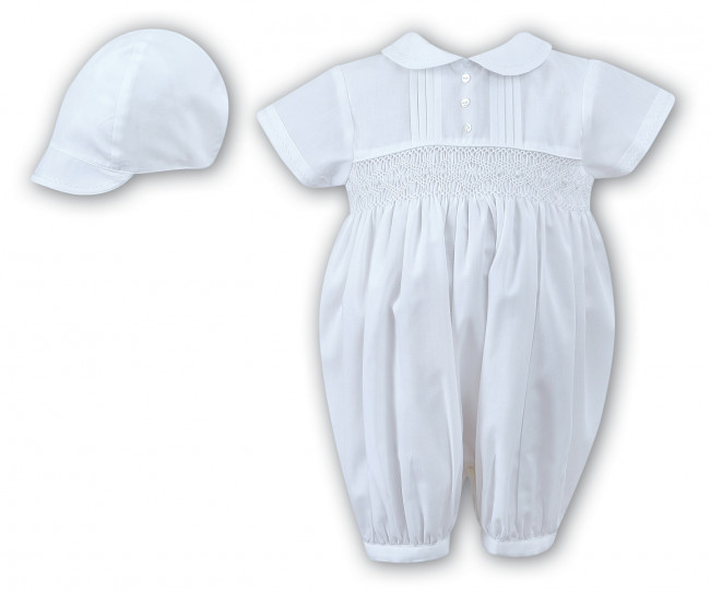 Sarah Louise -a- Boys white smocked Romper C 002205