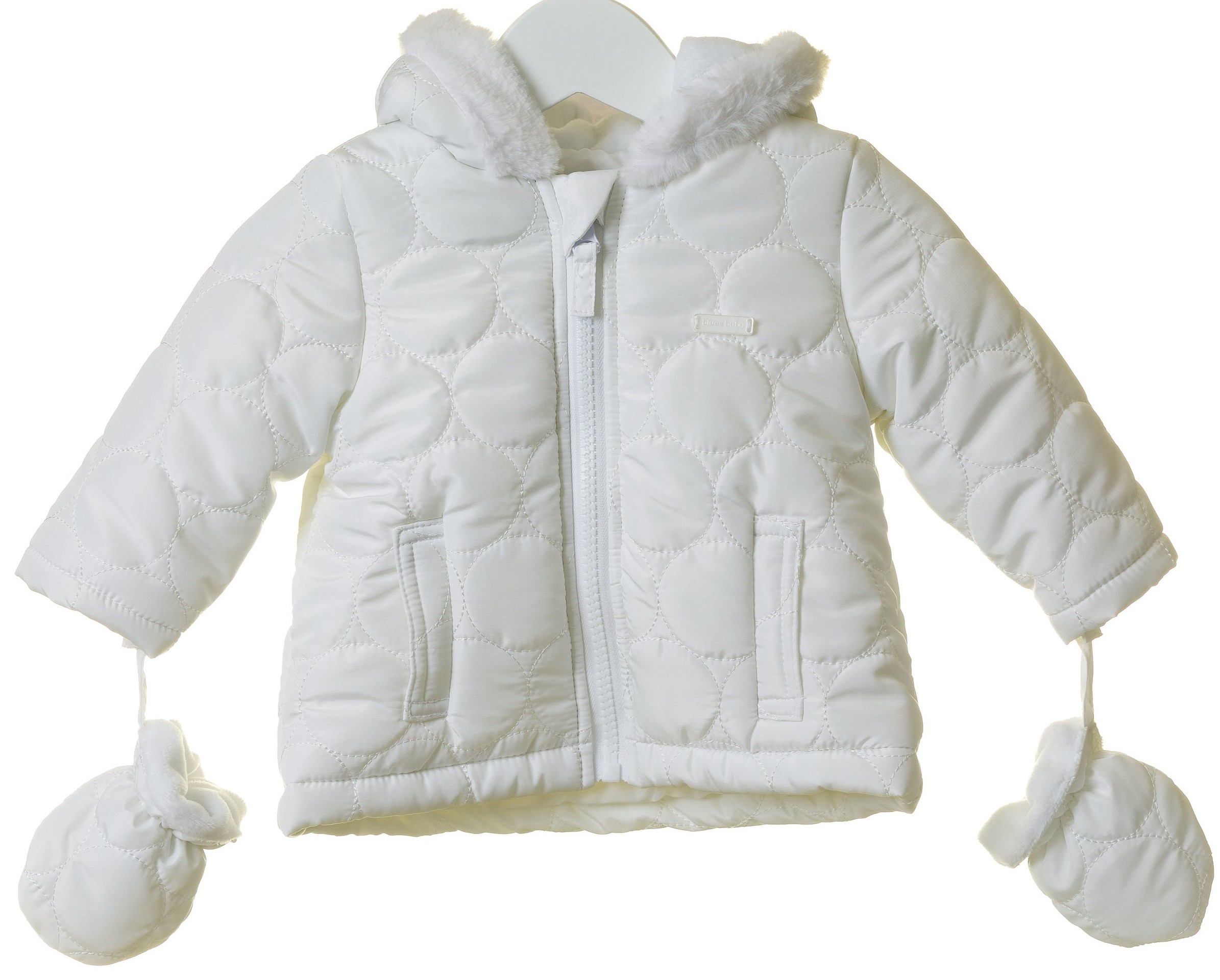 BBs Blues Baby White hooded Padded jkt & Mitts TT0007